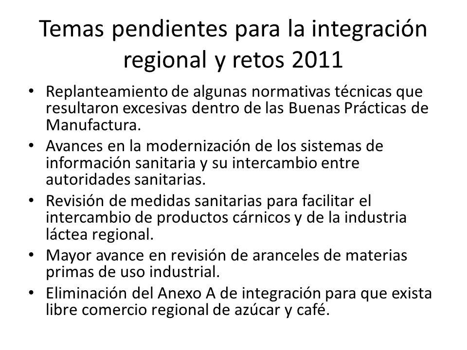 Temas pendientes para la integración regional y retos 2011 Replanteamiento de algunas normativas técnicas que resultaron excesivas dentro de las Buenas Prácticas de Manufactura.