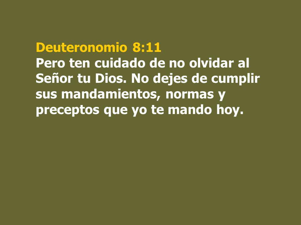 Deuteronomio 8:11 Pero ten cuidado de no olvidar al Señor tu Dios. No dejes de cumplir sus mandamientos, normas y preceptos que yo te mando hoy.