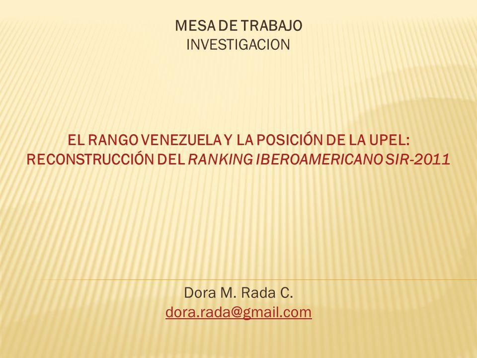 MESA DE TRABAJO INVESTIGACION EL RANGO VENEZUELA Y LA POSICIÓN DE LA UPEL: RECONSTRUCCIÓN DEL RANKING IBEROAMERICANO SIR-2011 Dora M. Rada C. dora.rad