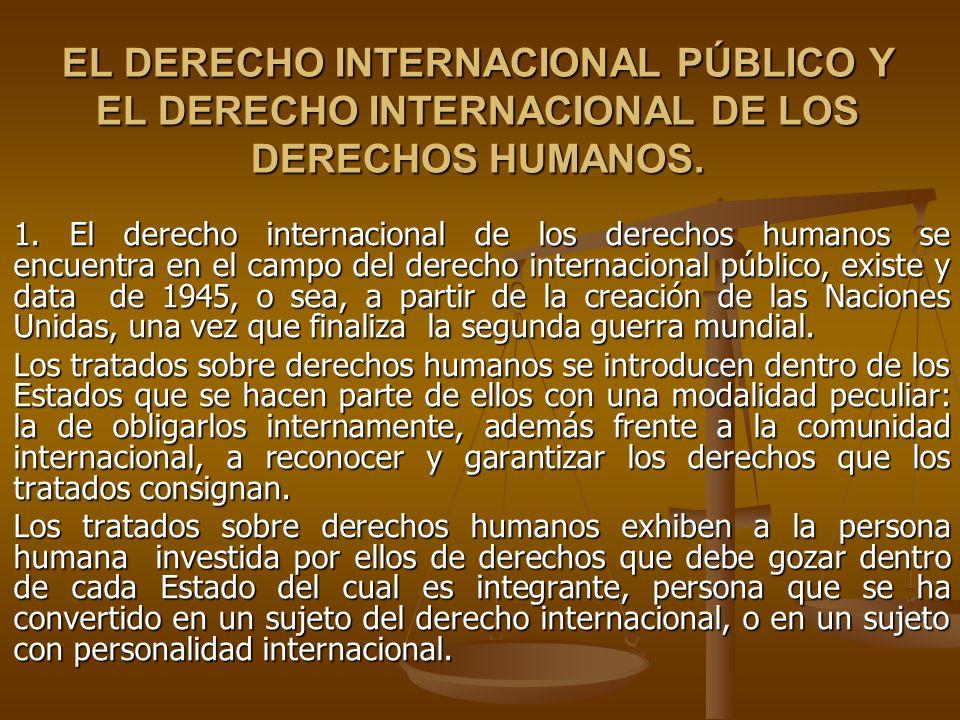 EL DERECHO INTERNACIONAL PÚBLICO Y EL DERECHO INTERNACIONAL DE LOS DERECHOS HUMANOS. 1. El derecho internacional de los derechos humanos se encuentra