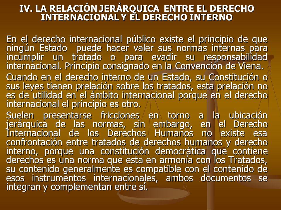 IV. LA RELACIÓN JERÁRQUICA ENTRE EL DERECHO INTERNACIONAL Y EL DERECHO INTERNO En el derecho internacional público existe el principio de que ningún E