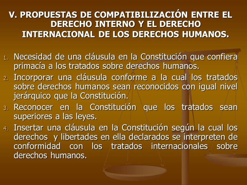V. PROPUESTAS DE COMPATIBILIZACIÓN ENTRE EL DERECHO INTERNO Y EL DERECHO INTERNACIONAL DE LOS DERECHOS HUMANOS. 1. Necesidad de una cláusula en la Con