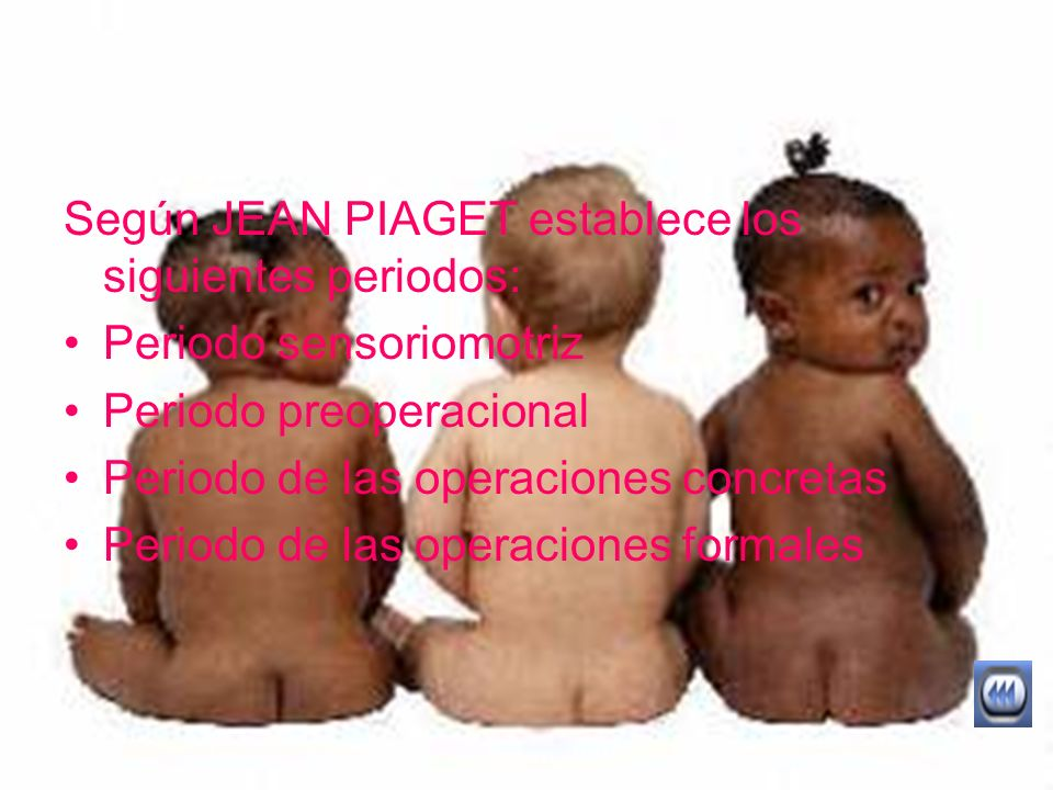 Según JEAN PIAGET establece los siguientes periodos: Periodo sensoriomotriz Periodo preoperacional Periodo de las operaciones concretas Periodo de las