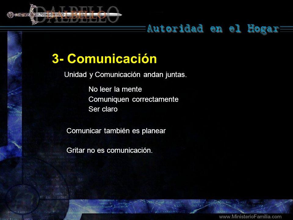 3- Comunicación No leer la mente Comuniquen correctamente Ser claro Comunicar también es planear Gritar no es comunicación. Unidad y Comunicación anda