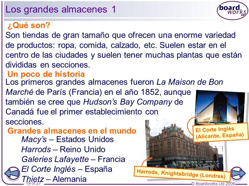© Boardworks Ltd 2006 19 of 27 Los grandes almacenes 1 ¿Qué son? Un poco de historia Harrods, Knightsbridge (Londres) Son tiendas de gran tamaño que o