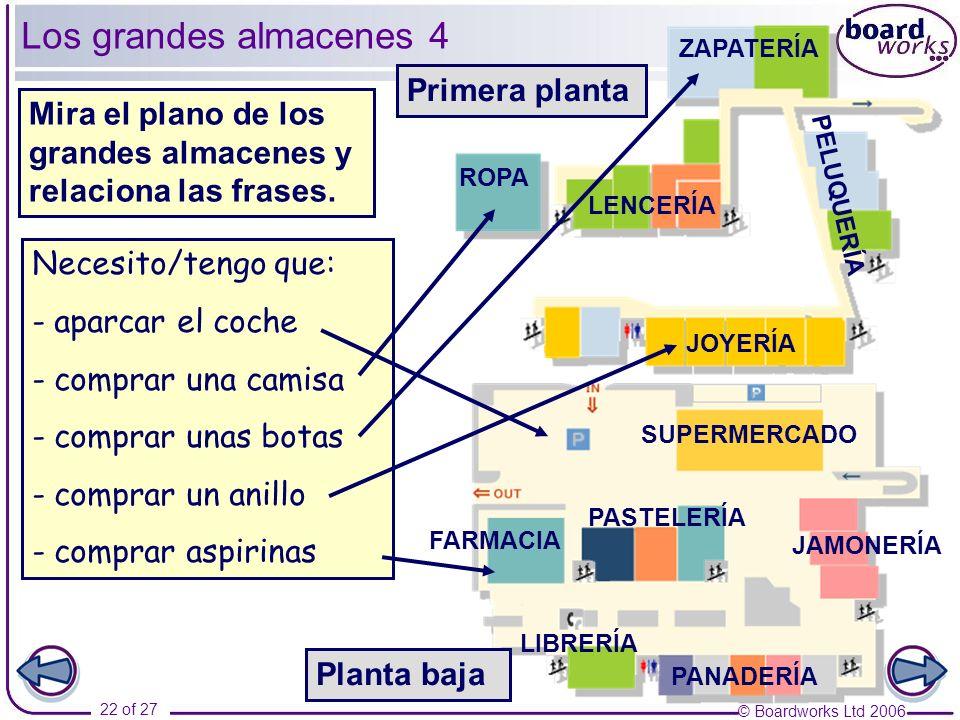 © Boardworks Ltd 2006 22 of 27 Los grandes almacenes 4 Necesito/tengo que: - aparcar el coche - comprar una camisa - comprar unas botas - comprar un a