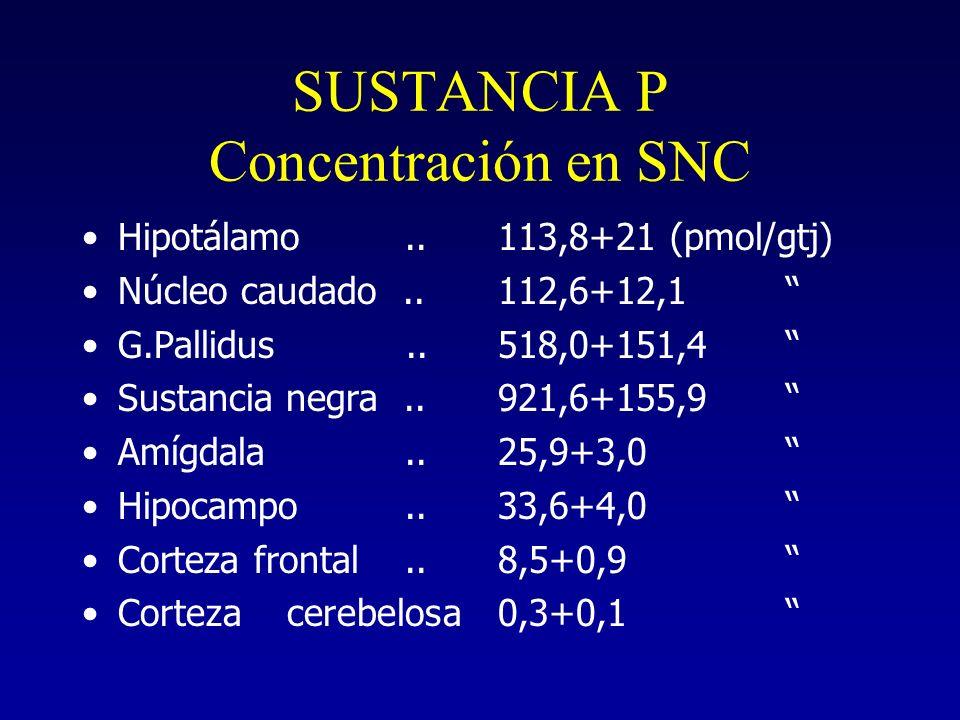 SUSTANCIA P Concentración en SNC Hipotálamo.. Núcleo caudado.. G.Pallidus.. Sustancia negra.. Amígdala.. Hipocampo.. Corteza frontal.. Corteza cerebel