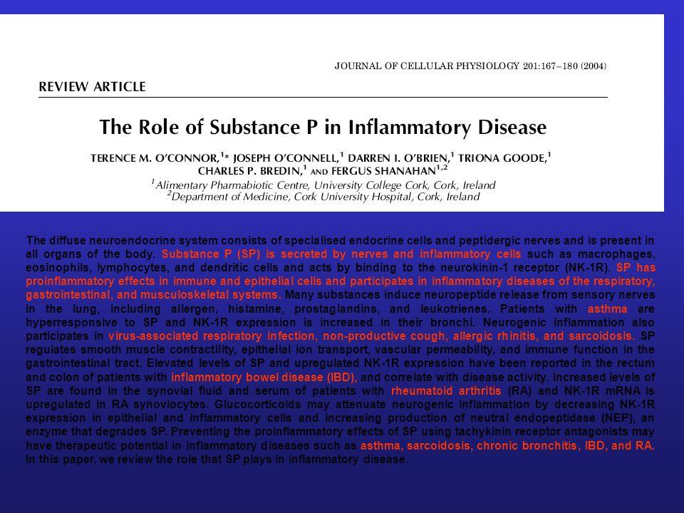 SUSTANCIA P Inmunoregulación Libera interleukina 1: Regula celulas B y T Producción PGE 2 y Producción Proteasas Expresión de los ICAM –1 Degranulación de los mastocitos Incrementa la expresión CD11b de neutrófilos