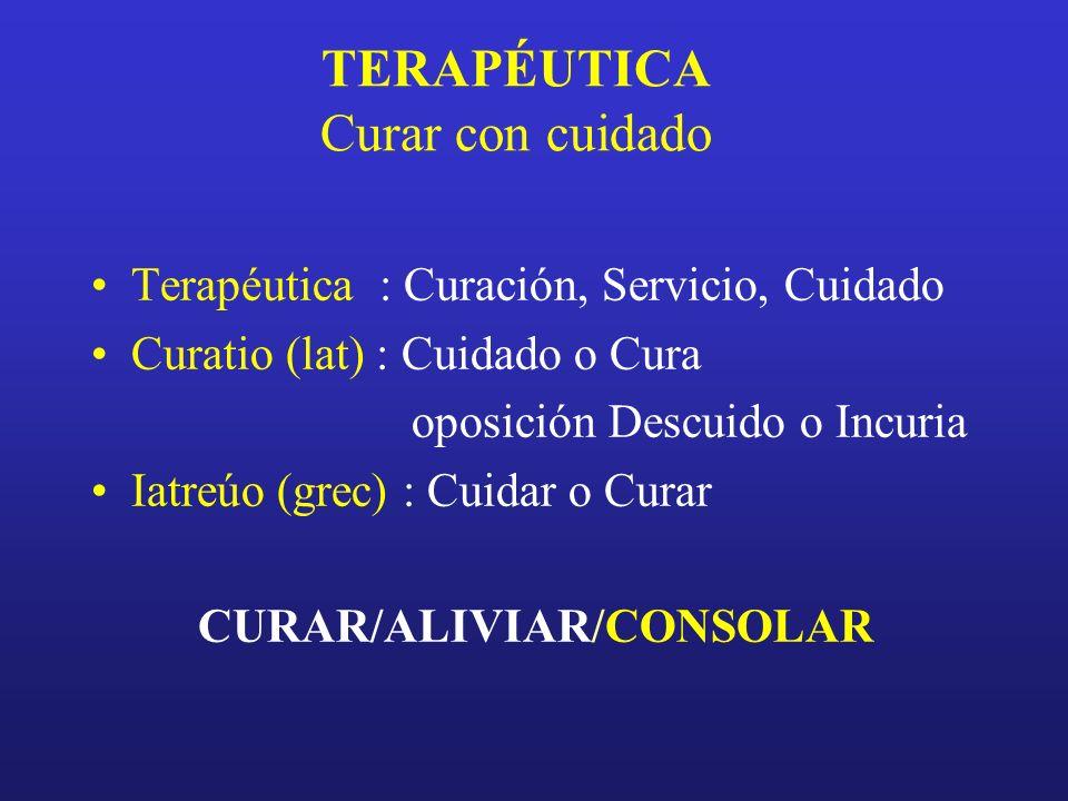 TERAPÉUTICA Curar con cuidado Terapéutica : Curación, Servicio, Cuidado Curatio (lat) : Cuidado o Cura oposición Descuido o Incuria Iatreúo (grec) : C