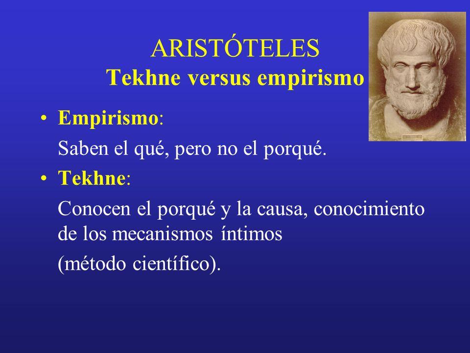 ARISTÓTELES Tekhne versus empirismo Empirismo: Saben el qué, pero no el porqué. Tekhne: Conocen el porqué y la causa, conocimiento de los mecanismos í