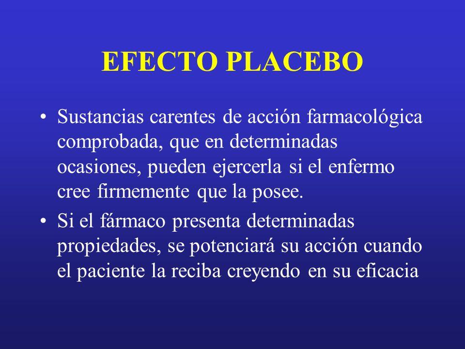 EFECTO PLACEBO Sustancias carentes de acción farmacológica comprobada, que en determinadas ocasiones, pueden ejercerla si el enfermo cree firmemente q