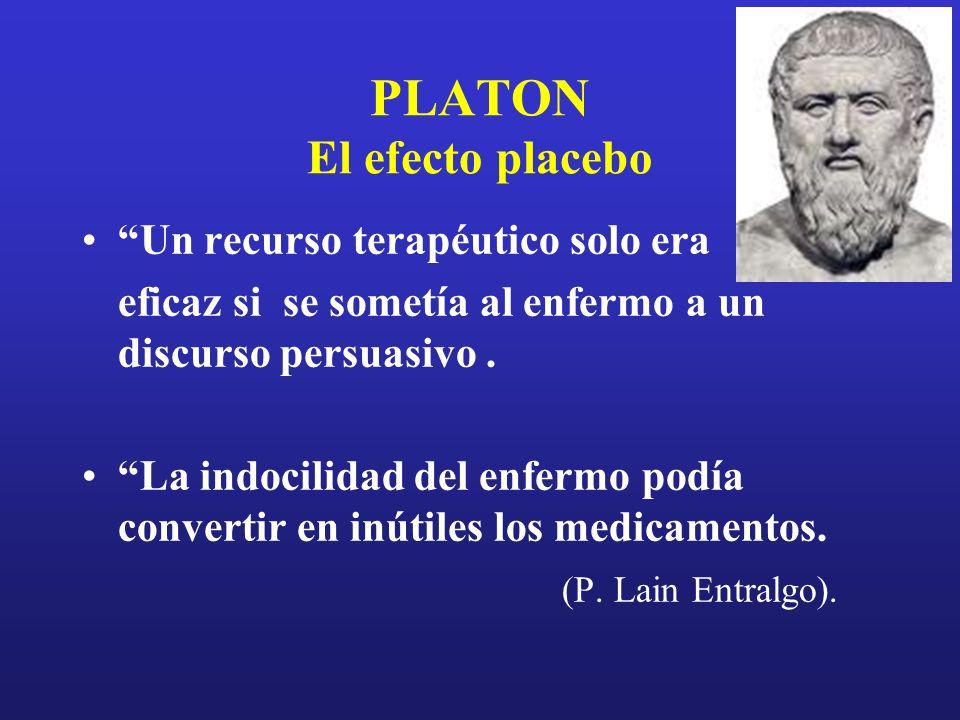 PLATON El efecto placebo Un recurso terapéutico solo era eficaz si se sometía al enfermo a un discurso persuasivo. La indocilidad del enfermo podía co