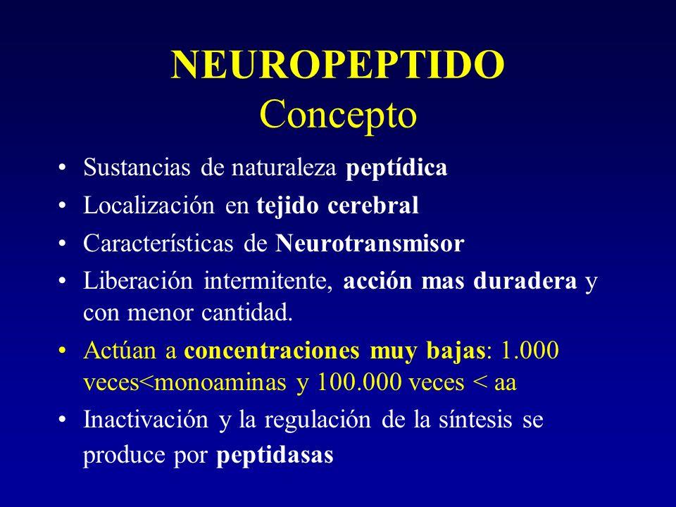 NEUROPEPTIDO Concepto Sustancias de naturaleza peptídica Localización en tejido cerebral Características de Neurotransmisor Liberación intermitente, a
