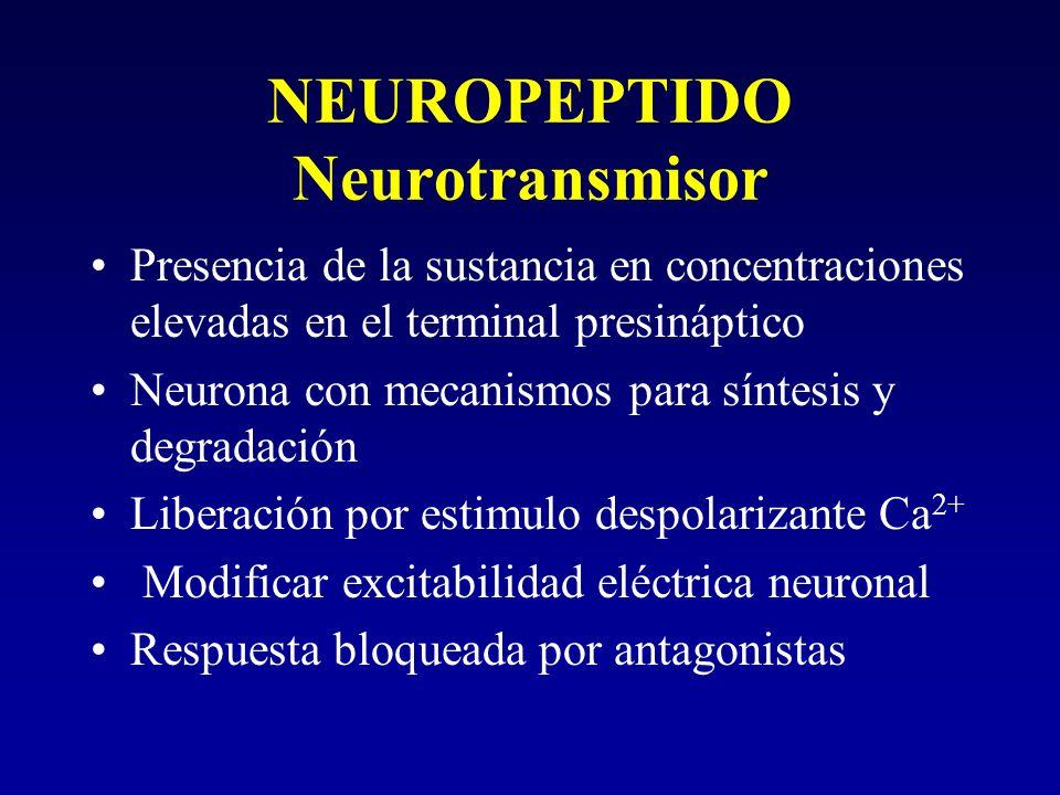 NEUROPEPTIDO Neurotransmisor Presencia de la sustancia en concentraciones elevadas en el terminal presináptico Neurona con mecanismos para síntesis y