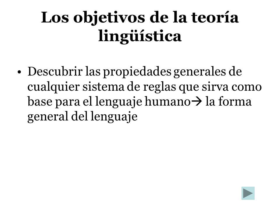 Los objetivos de la teoría lingüística Descubrir las propiedades generales de cualquier sistema de reglas que sirva como base para el lenguaje humano