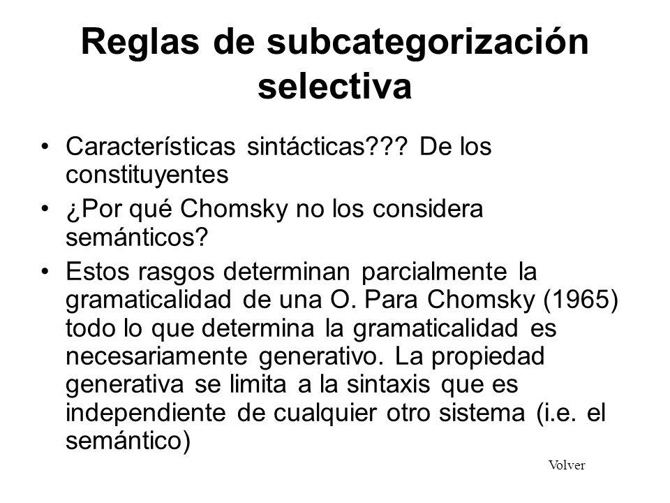 Reglas de subcategorización selectiva Características sintácticas??? De los constituyentes ¿Por qué Chomsky no los considera semánticos? Estos rasgos