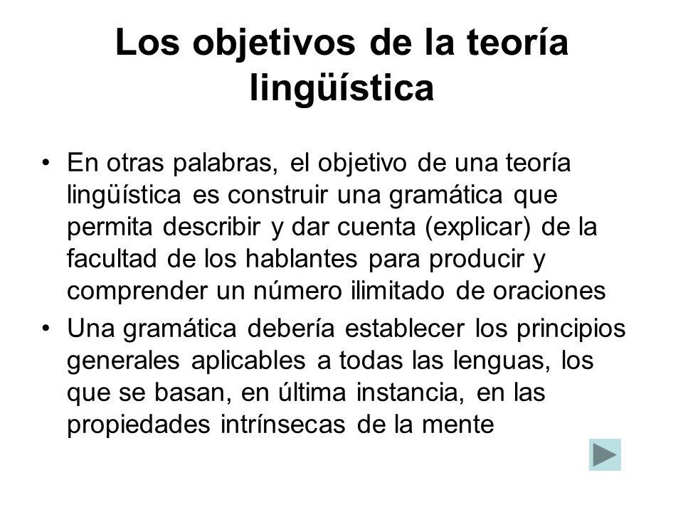 Los objetivos de la teoría lingüística En otras palabras, el objetivo de una teoría lingüística es construir una gramática que permita describir y dar