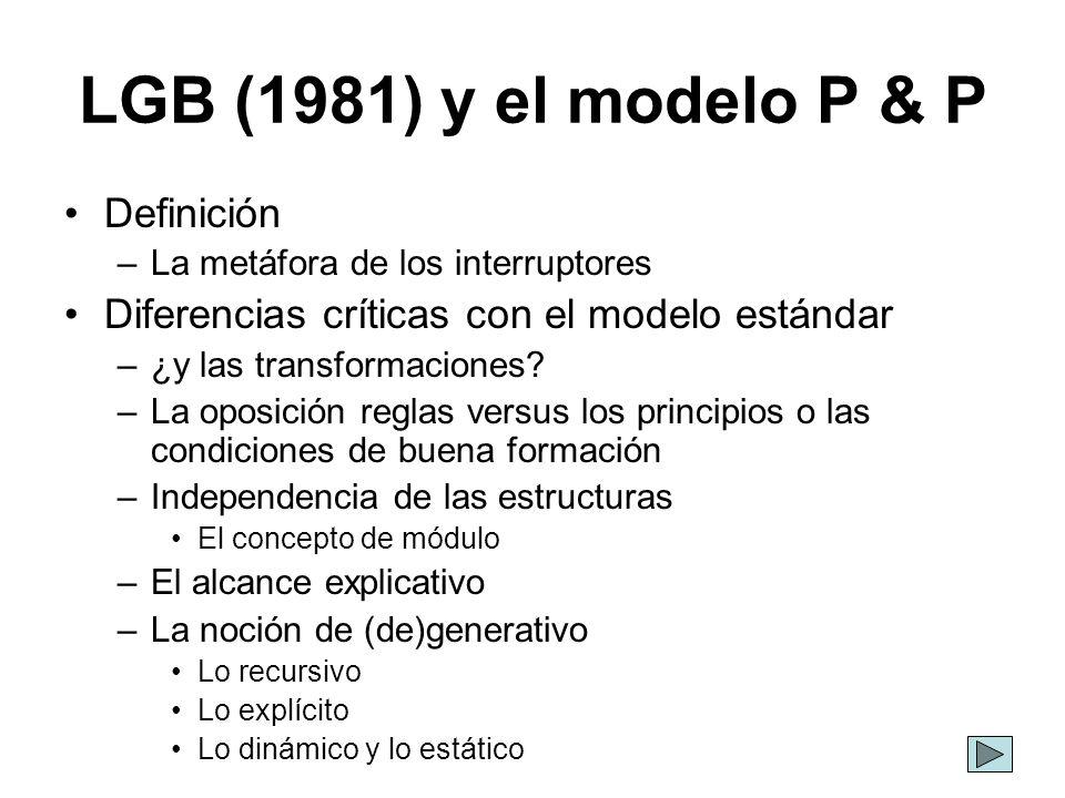 LGB (1981) y el modelo P & P Definición –La metáfora de los interruptores Diferencias críticas con el modelo estándar –¿y las transformaciones? –La op