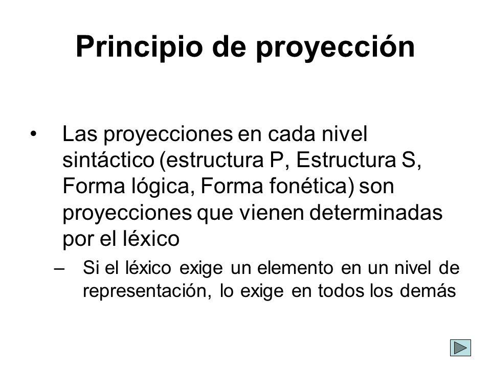 Principio de proyección Las proyecciones en cada nivel sintáctico (estructura P, Estructura S, Forma lógica, Forma fonética) son proyecciones que vien