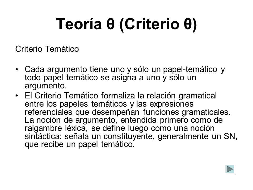 Teoría θ (Criterio θ) Criterio Temático Cada argumento tiene uno y sólo un papel-temático y todo papel temático se asigna a uno y sólo un argumento. E