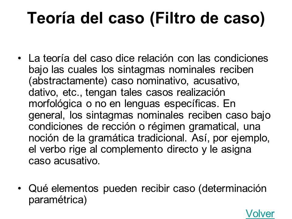 Teoría del caso (Filtro de caso) La teoría del caso dice relación con las condiciones bajo las cuales los sintagmas nominales reciben (abstractamente)