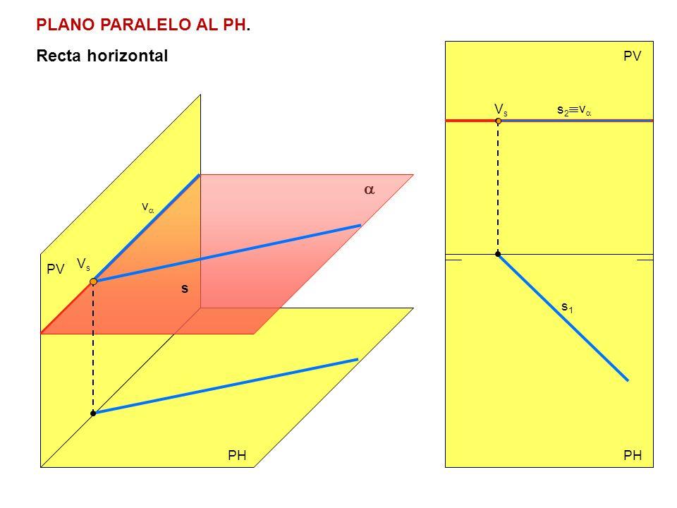 PLANO PARALELO AL PH. Recta horizontal PV PH PV v v VsVs s VsVs s2s2 s1s1