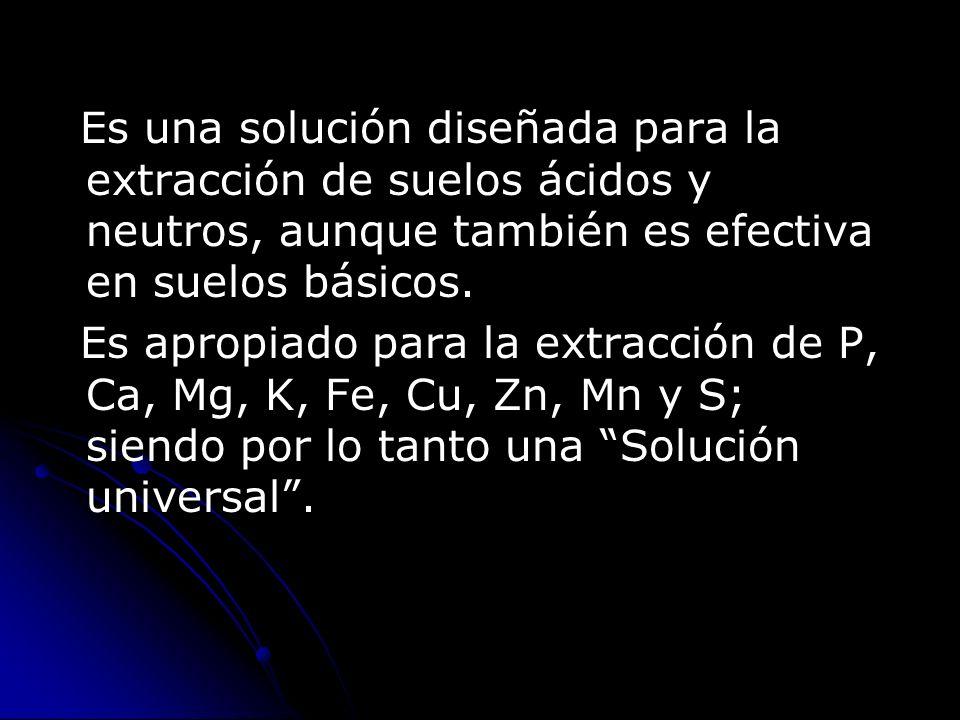 Es una solución diseñada para la extracción de suelos ácidos y neutros, aunque también es efectiva en suelos básicos. Es apropiado para la extracción
