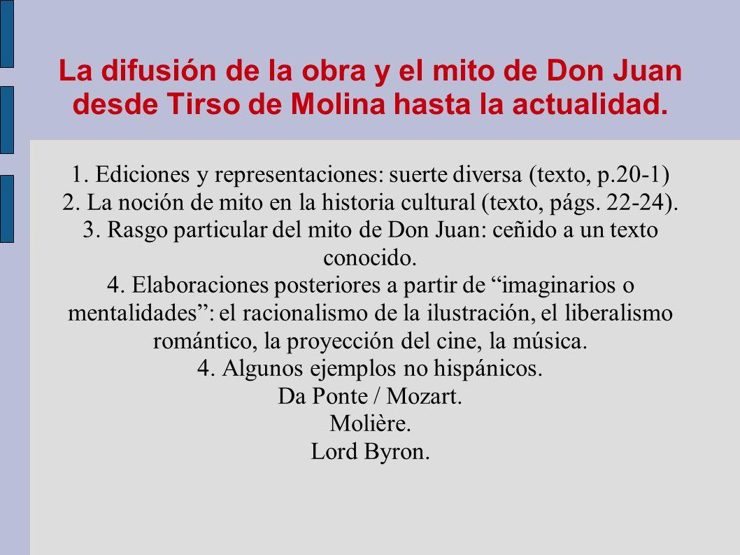 La difusión de la obra y el mito de Don Juan desde Tirso de Molina hasta la actualidad. 1. Ediciones y representaciones: suerte diversa (texto, p.20-1