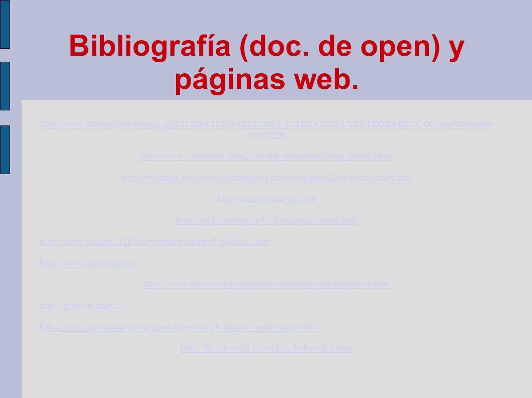 Bibliografía (doc. de open) y páginas web. http://www.materialesdelengua.org/LITERATURA/HISTORIA_LITERATURA/TEATROBARROCO/corralyteatrobar roco.htm ht