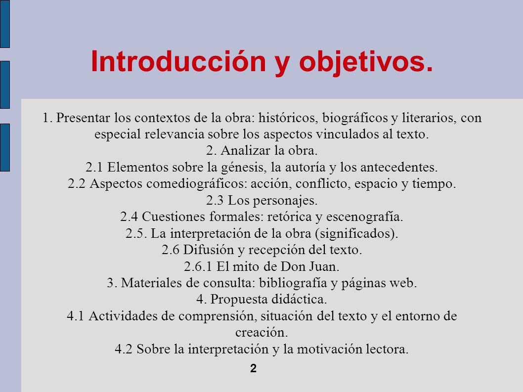 Introducción y objetivos. 1. Presentar los contextos de la obra: históricos, biográficos y literarios, con especial relevancia sobre los aspectos vinc