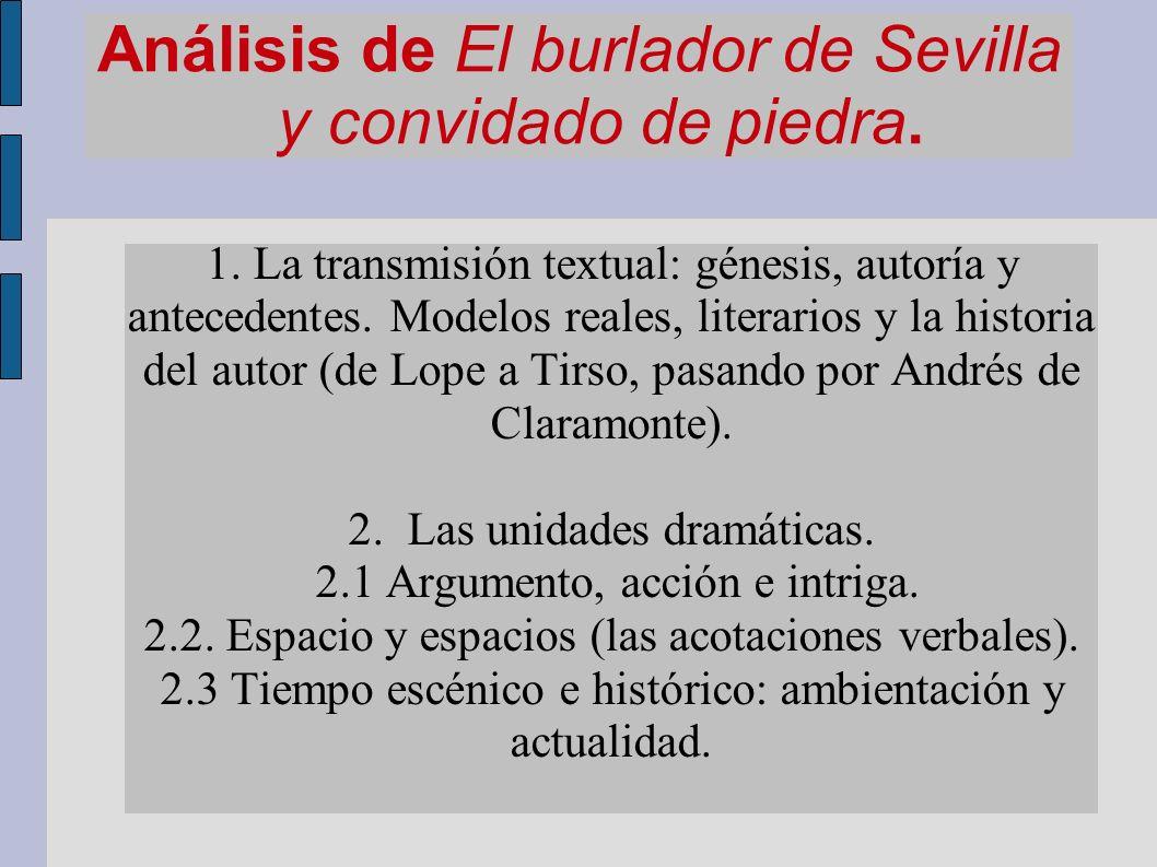 Análisis de El burlador de Sevilla y convidado de piedra. 1. La transmisión textual: génesis, autoría y antecedentes. Modelos reales, literarios y la