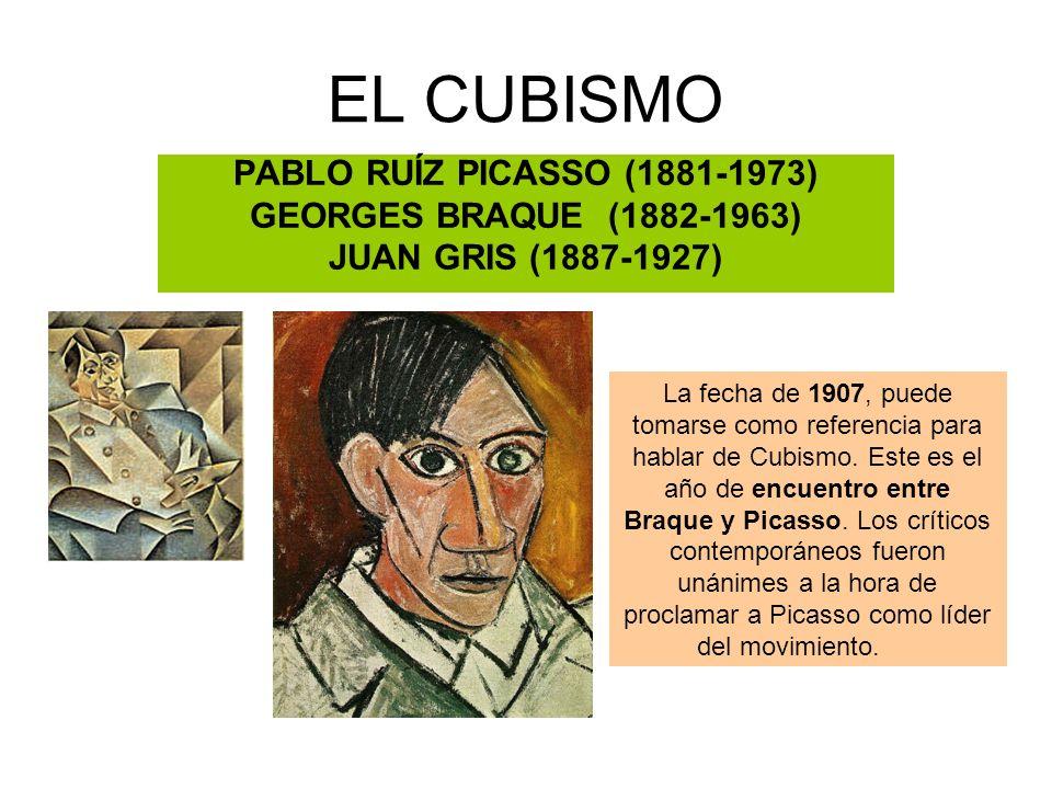 EL CUBISMO PABLO RUÍZ PICASSO (1881-1973) GEORGES BRAQUE (1882-1963) JUAN GRIS (1887-1927) La fecha de 1907, puede tomarse como referencia para hablar