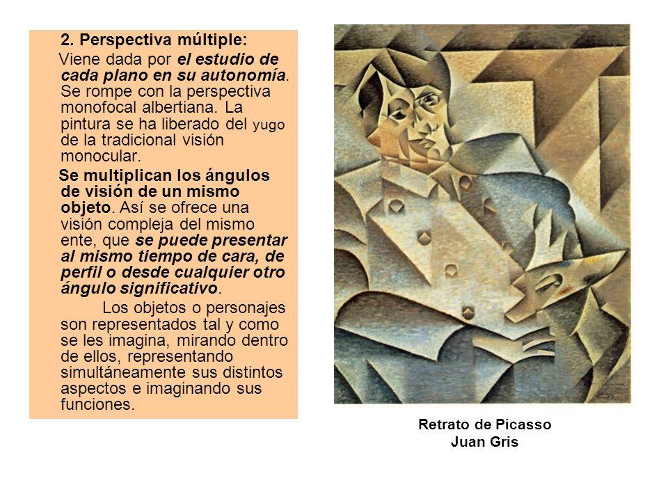 2. Perspectiva múltiple: Viene dada por el estudio de cada plano en su autonomía. Se rompe con la perspectiva monofocal albertiana. La pintura se ha l