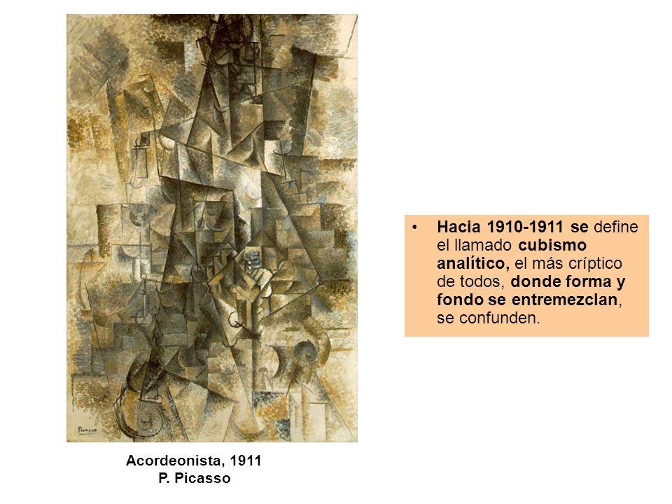 Acordeonista, 1911 P. Picasso Hacia 1910-1911 se define el llamado cubismo analítico, el más críptico de todos, donde forma y fondo se entremezclan, s
