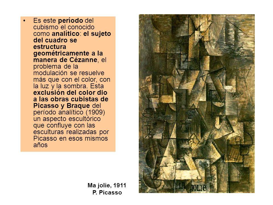 Ma jolie, 1911 P. Picasso Es este período del cubismo el conocido como analítico: el sujeto del cuadro se estructura geométricamente a la manera de Cé