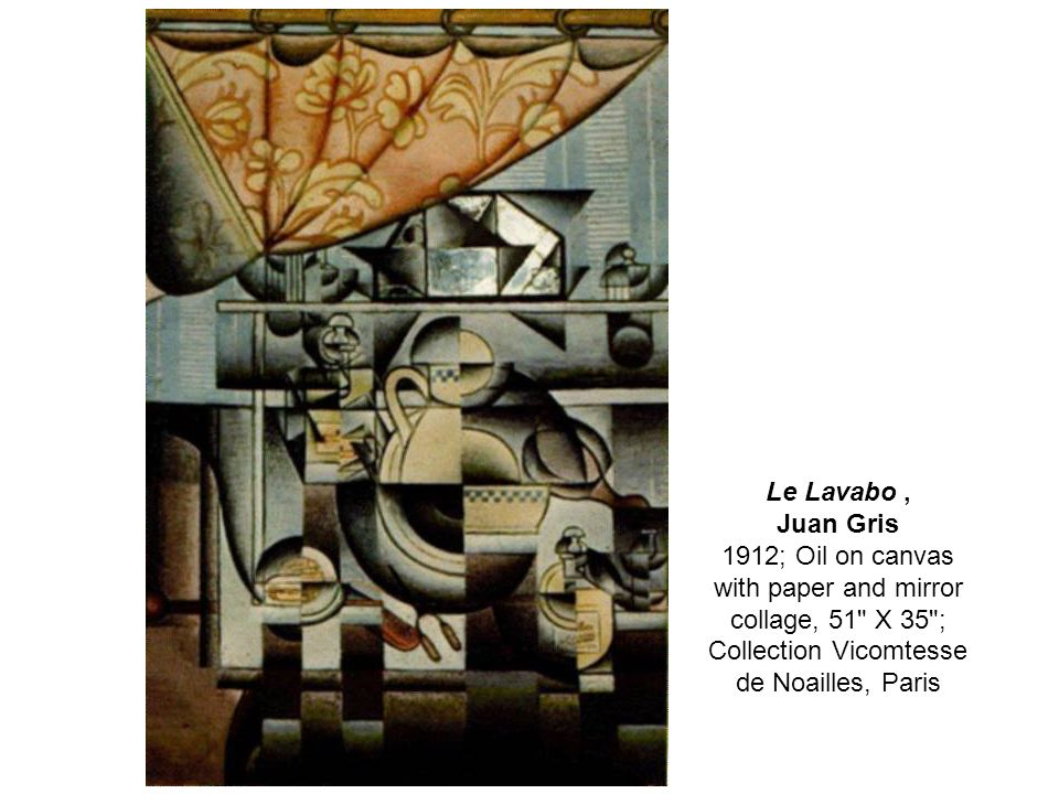 Le Lavabo, Juan Gris 1912; Oil on canvas with paper and mirror collage, 51