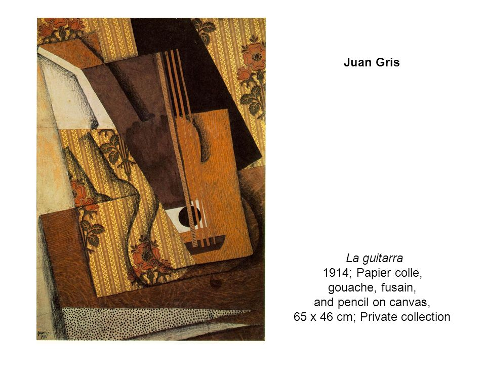 La guitarra 1914; Papier colle, gouache, fusain, and pencil on canvas, 65 x 46 cm; Private collection Juan Gris