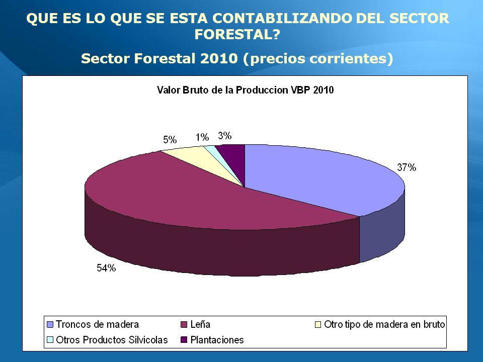 QUE ES LO QUE SE ESTA CONTABILIZANDO DEL SECTOR FORESTAL Sector Forestal 2010 (precios corrientes)