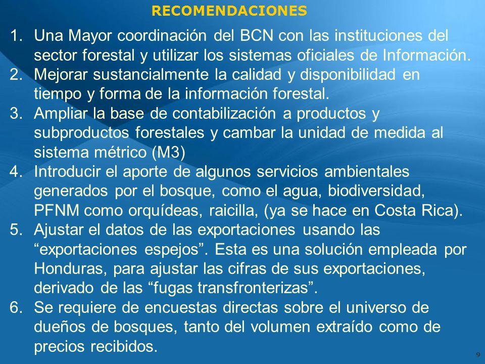 9 1.Una Mayor coordinación del BCN con las instituciones del sector forestal y utilizar los sistemas oficiales de Información.