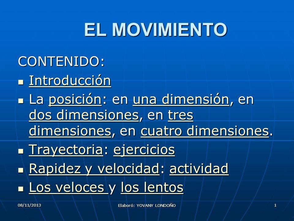 1 EL MOVIMIENTO CONTENIDO: Introducción Introducción Introducción La posición: en una dimensión, en dos dimensiones, en tres dimensiones, en cuatro di
