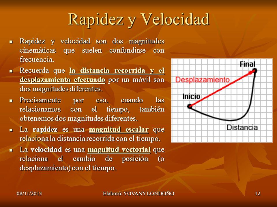 12 Rapidez y Velocidad Rapidez y velocidad son dos magnitudes cinemáticas que suelen confundirse con frecuencia. Rapidez y velocidad son dos magnitude