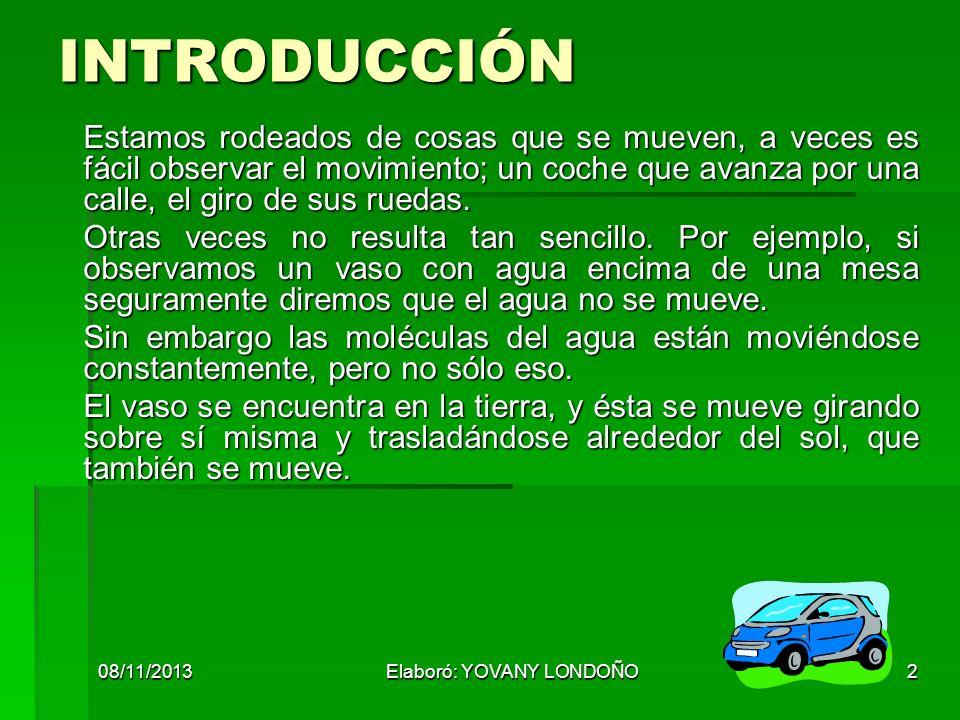 08/11/2013Elaboró: YOVANY LONDOÑO13 RAPIDEZ Relaciona la distancia recorrida con respecto al tiempo.
