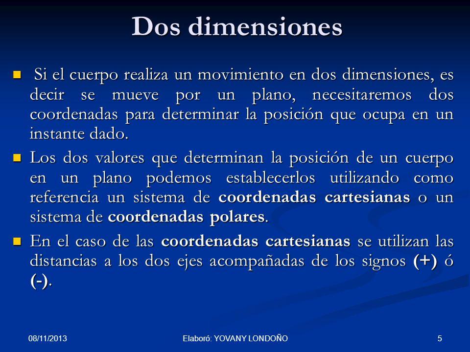 5 Dos dimensiones Si el cuerpo realiza un movimiento en dos dimensiones, es decir se mueve por un plano, necesitaremos dos coordenadas para determinar
