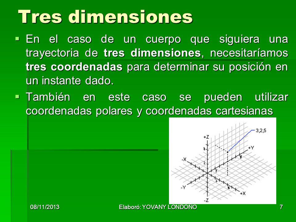 7 Tres dimensiones En el caso de un cuerpo que siguiera una trayectoria de tres dimensiones, necesitaríamos tres coordenadas para determinar su posici