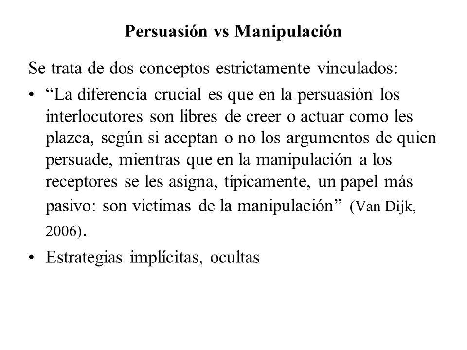 Persuasión vs Manipulación Se trata de dos conceptos estrictamente vinculados: La diferencia crucial es que en la persuasión los interlocutores son li