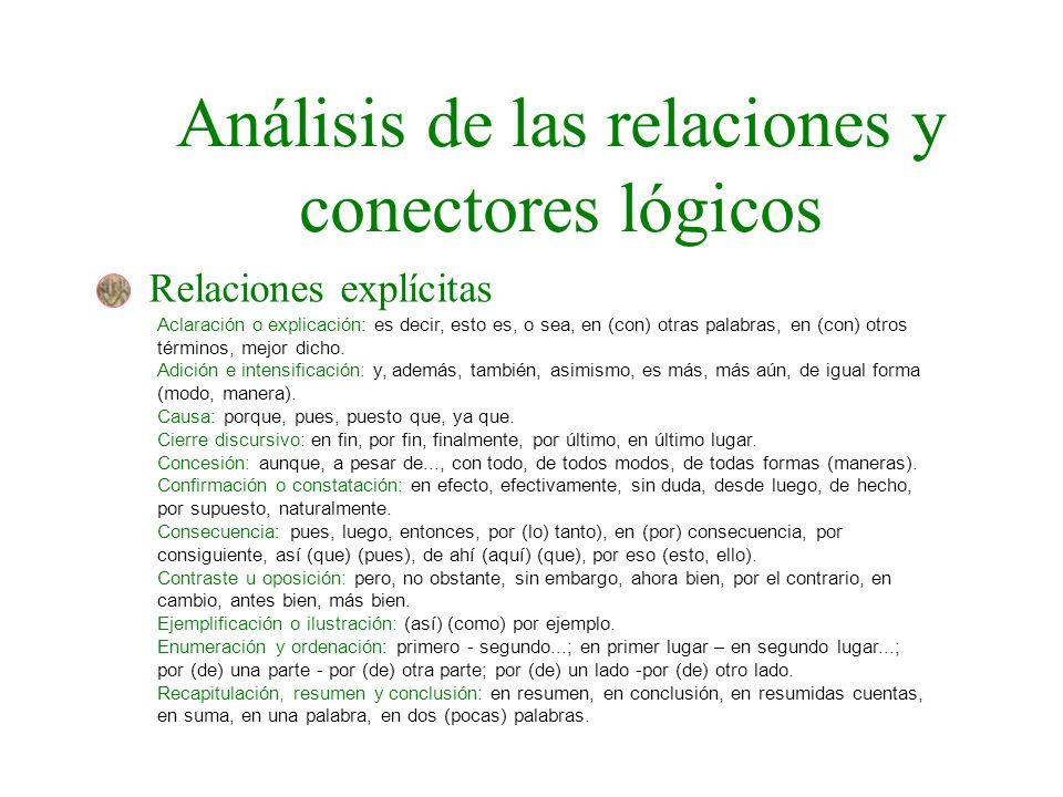 Análisis de las relaciones y conectores lógicos Relaciones explícitas Aclaración o explicación: es decir, esto es, o sea, en (con) otras palabras, en