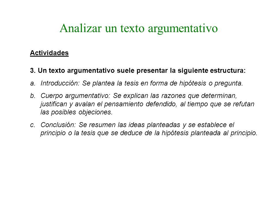 Analizar un texto argumentativo Actividades 3. Un texto argumentativo suele presentar la siguiente estructura: a.Introducción: Se plantea la tesis en