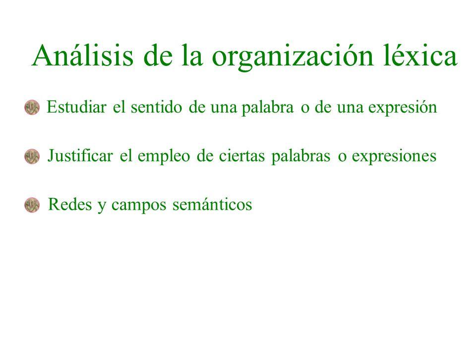 Análisis de la organización léxica Estudiar el sentido de una palabra o de una expresión Justificar el empleo de ciertas palabras o expresiones Redes