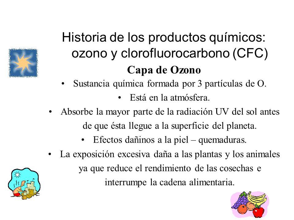 Historia de los productos químicos: ozono y clorofluorocarbono (CFC) Capa de Ozono Sustancia química formada por 3 partículas de O. Está en la atmósfe