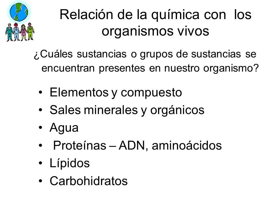Relación de la química con los organismos vivos ¿Cuáles sustancias o grupos de sustancias se encuentran presentes en nuestro organismo? Elementos y co